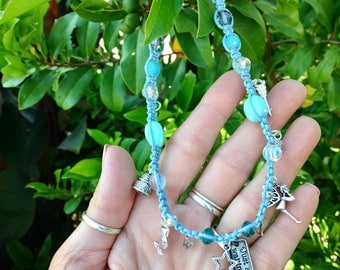 Wendy Darling tinkerbell Peter Pan light blue hemp choker with glass beads snd silvertone charms