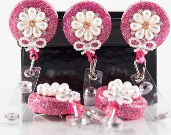 Pink and Pearly Flower Badge Holder