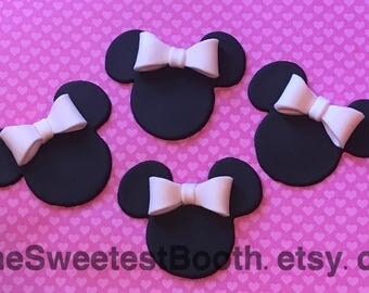 Minnie Mouse Mickey Mouse Fondant Cupcake Birthday Baby's Shower Toppers Fondant Bow