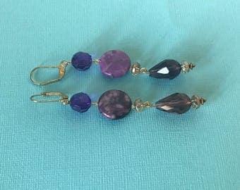 Purple beaded dangle pierced earrings, purple earrings, purple jewelry, beaded earrings, chandelier earrings, purple earrings, long earrings