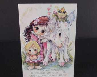 Jody Bergsma Galleries Art Print Fridge Magnet / Big Eye Girl Boy Frog Horse / Your Special Unique One of a Kind / Vintage 1992