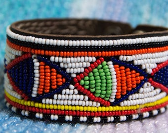 Beaded Bracelet Southwest Design -Wide Leather Snap