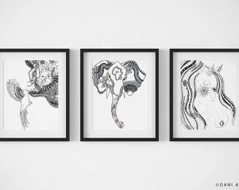 Choose Any 3 Art Prints/Wall Decor Prints/Variety Pack/Black and White Art Print Set/Animal Print Set/ Desert Print Set/ Nature Illustration