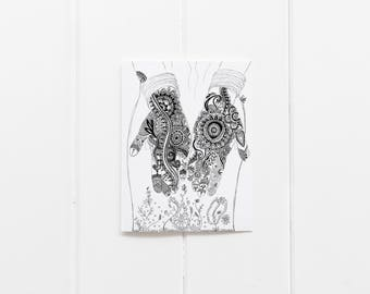 Encouraging Cards/Henna Hand Print/ Henna Hand Notecards/All occasion cards/Set of 6 Notecards/Blank Greeting Cards/Blank Notecard Set/