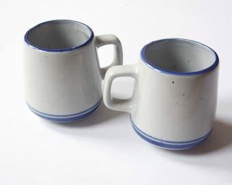 Pair CERAMIC coffee MUGS – Retro style ceramic mugs – Pottery mugs – Coffee mugs - ceramic - coffee mugs - kitchen ware - serving
