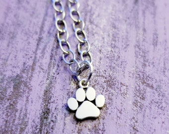 Paw Print Necklace, Sterling Silver, Paw Print Necklace, Tiny Paw Print Necklace, Cat Dog Lovers Jewelry, Pet Memorial Necklace, Pet Jewelry