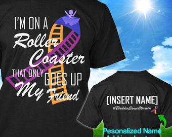 Personalized Bladder Cancer Awareness Tshirt Purple Blue Marigold Ribbon Roller Coaster Survivor Custom T-shirt Unisex Women Youth Kids