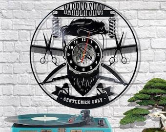 Barber Shop vinyl clock/Barber Shop wall clock/Barber Shop vinyl décor/Barber shop vinyl art/Barber Shop gift/Original clock/Creative clock