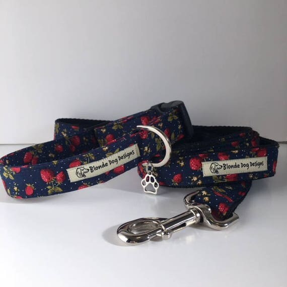Dog Collar & Lead Set, Limited Edition, Strawberry Fields, Pretty Dog Collar, Collar and Lead UK