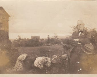 Vintage Photo Lonely Dapper Man on Rocks Abstract Found Black & White Photograph Antique Paper Art Ephemera Interior Design Decor Mood