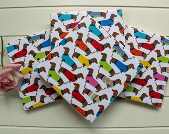 Ceramic Coasters, Tile Coasters, Coasters, Coaster Set, Dachshunds, Sausage Dogs, Dogs, Housewarming Gift, Birthday Present