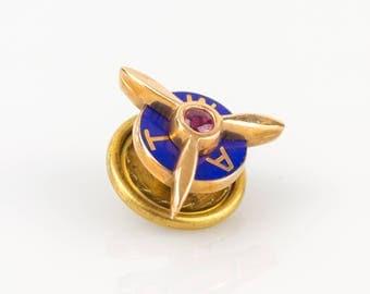 1930s TWA 10K Gold Propeller Blue Enamel Lapel Pin w/Red Spinel Gemstone