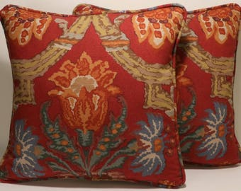 "Ralph Lauren Fabric DecorativeThrow Pillows,Red Floral Pillows, 2 18"" Ralph Lauren Cadiz Floral Heritage Throw Pillows & Forms,Accent Pillow"