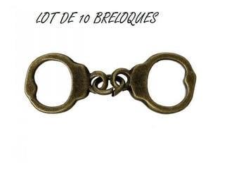 Set of 10 prison (T10) Bronze handcuff charms