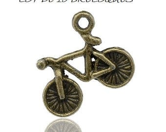 Set of 10 charms cycling bicycle bike bronze (R05)