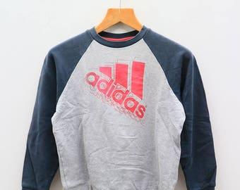 Vintage ADIDAS Treline Big Logo Big Spell Sportswear Gray Sweatshirt Sweater Size L