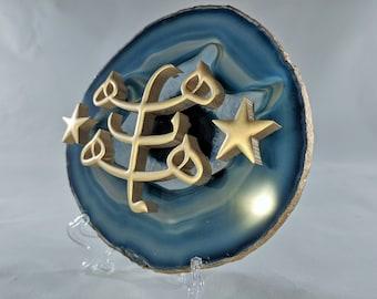 Baha'i Symbol on Blue Agate Slice