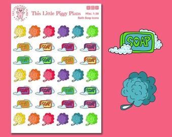 Bath Soap Planner Stickers - Bath Time Planner Stickers - Bath Stickers - Soap - Me Time Planner Stickers - Shower Stickers - [Misc 1-38]