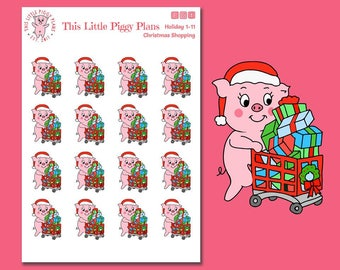 Christmas Shopping Oinkers - Christmas Shopping Stickers - Retail Therapy - Planner Stickers - Shopping - Christmas Presents -[Holiday 1-11]