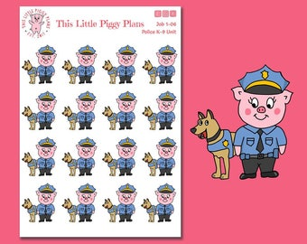 Police Officer K-9 Unit Planner Stickers - Police Planner Stickers - K-9 Planner Stickers - Police Dog Stickers - Police Officer- [Job 1-06]