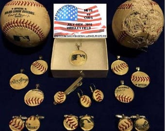 New York Mets jewelry made from MLB authenticated game used baseball : cufflinks earrings pendants tie clip