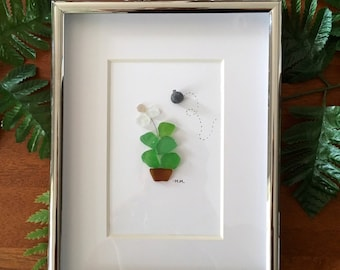 Flower and a bumble bee - sea glass art
