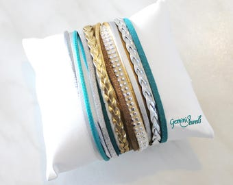 Leather Bracelet silver-teal-gold belt sorter