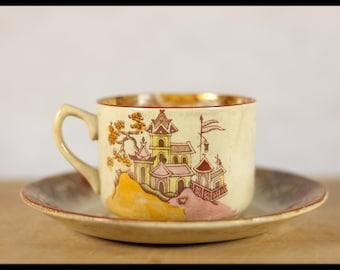 Vintage Cup, tea, coffee, Gilman & cta SACAVÉM, collection, antique chinese ceramics, portugal, 20s, deco, Asian scene, kitchen