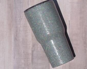 Silver Glitter Tumbler - Glitter Tumbler - Stainless Steel Tumbler - Bling Glitter Tumbler - RTIC Tumbler - Ozark Tumbler