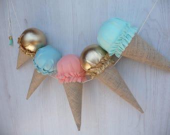 Ice cream garland,ice cream party,ice cream birthday,summer party decor,photo props
