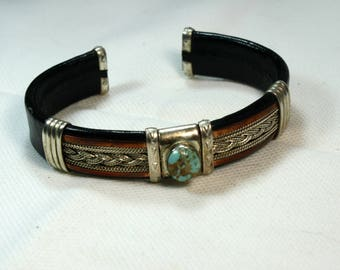 Handmade Black Leather, Turquoise Silver and Copper Cuff Bracelet