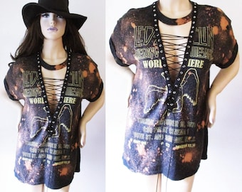 Led Zeppelin lace up Bleached shirts S-XL