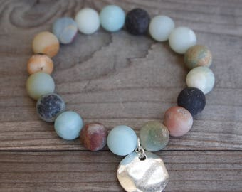 10mm Matte Amazonite Beaded Bracelet with Silver Hammered Disk Charm
