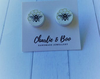Wooden Bee Studs - Printed Wood Studs - Bumble Bee Studs - Bee Earrings - Bee Jewellery - Bumble Bee Earrings - Bumble Bee Jewellery