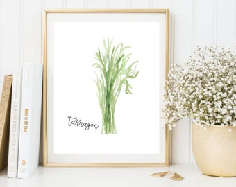 Herbs Printable, Tarragon Printable, Herbs Wall Art, Herbs Print, Tarragon Art, Tarragon Print, Tarragon Poster, Kitchen Printable