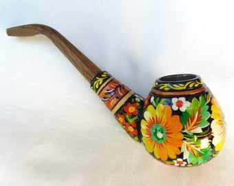 Smoking pipe, Handpainted pipe, Tobacco pipe, Original wooden pipe, Carved pipe, Wooden pipe, Yellow pipe, Peace-pipe, Sunflower pipe
