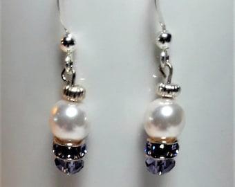 Swarovski Pearl and Tanzanite Crystal Earrings
