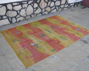Turkish Yellow and Orange Different Pattern Oushak Rug , 7 x 10'1 ft