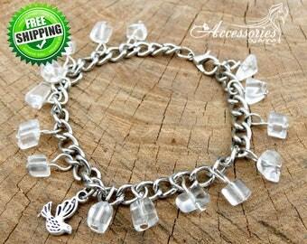 Bird jewelry Rhinestone bracelet Clear White bracelet White rhinestone Bird bracelet Dove bracelet Gemstone bracelet Birds Christmas gift