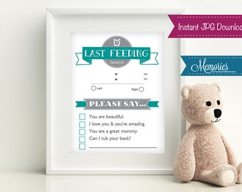 Baby Last Feeding Sign, Breast Feeding Sign, Breast Feeding Tracker, Download Baby Feed Sign, Printable, INSTANT DOWNLOAD