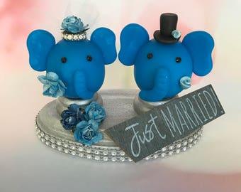 Elephant Bride and Groom - Wedding Cake Topper