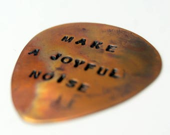 guitar pick/ hand stamped personalised plectrum/ custom guitar pick/ personalised guitar pick/ copper guitar pick