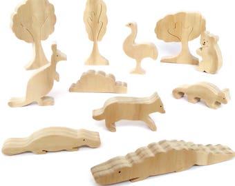 Wooden toy set of australian animals - unpainted waldorf figurines with organic varnish - gift for kids -includes kangaroo, koala, crocodile