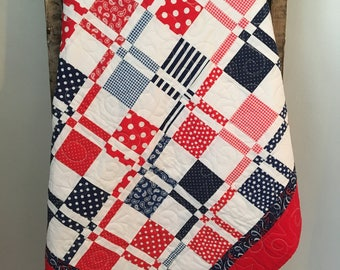 patriotic throw blanket - red, white and blue quilt - kid size quilt  - kid size bedding - kid size blanket - polka dots- stripes
