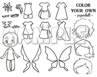 DIGITAL FILE Color Your Own Fairy