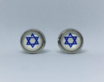 Hanukkah Star of David Cabochon Earrings