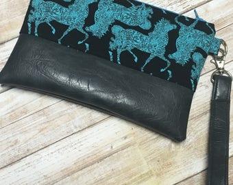 Turquoise Horses-Black Vegan Leather Clutch
