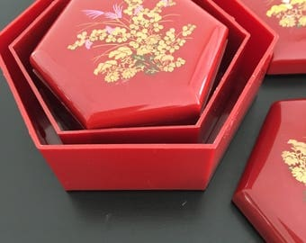 Vintage, Japanese, Nesting Boxes, Lacquer Ware, Three Boxes,Red Boxes, Oriental Decor,Asian Interior,Storage,Plastic Boxes,Trinket Box,Box
