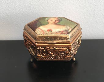 Vintage, Trinket Box, Jewelry Box, Brass Box, Silk Portrait,Felt Lines, Engagement Ring Box, Ring Box, Keepsake Box,Ornate Box, Japanese Box