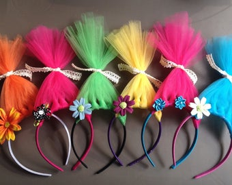 Lot of 5 TROLL Headband Party Favors  ~ This listing is for 5 bright & colorful Troll headbands ~ Reliable Seller